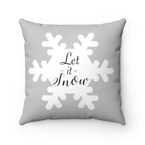 snowflake let it snow, square accent pillow, gray and white