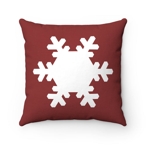 Red and White Snowflake Square Pillow