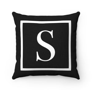 Black and White Square Initial Accent Pillow