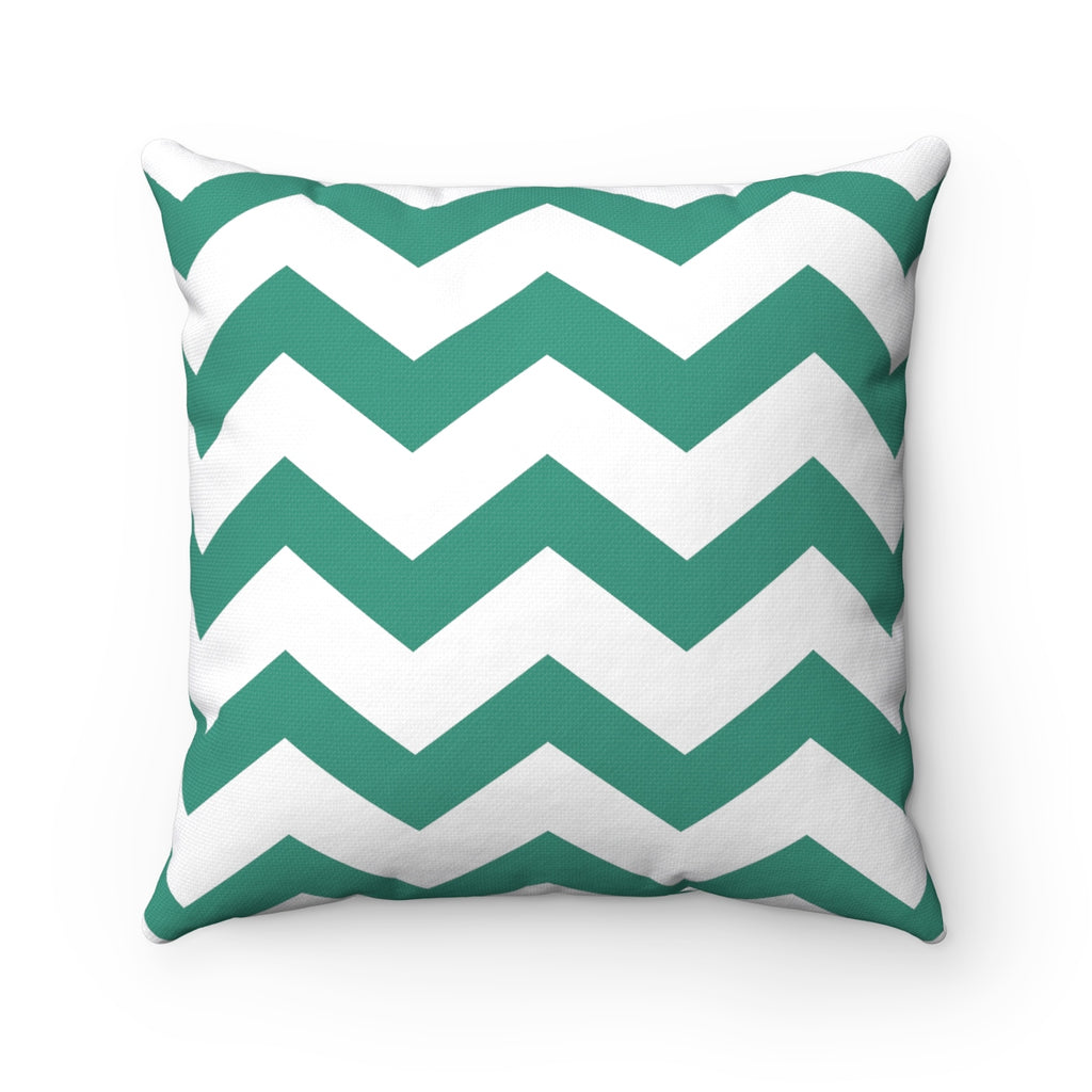 Sea Green Chevron Square Pillow