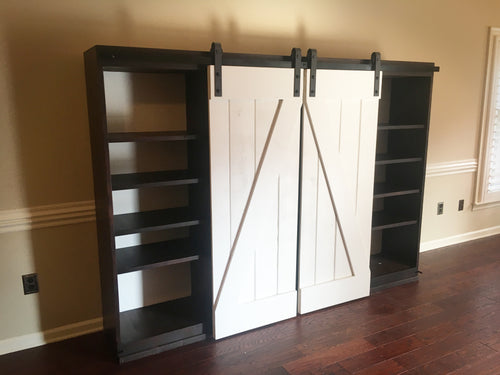 large sliding barn door entertainment center