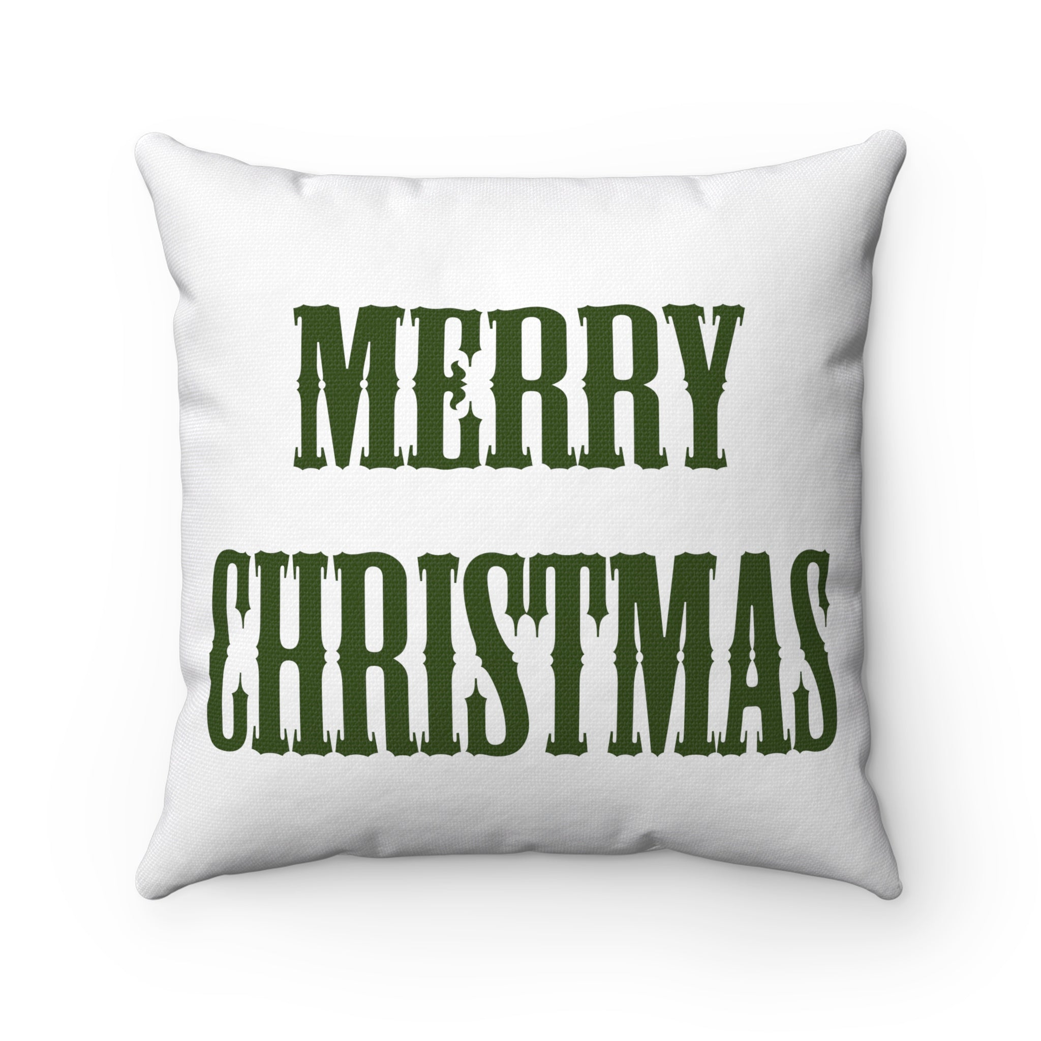 Green and white merry christmas square pillow