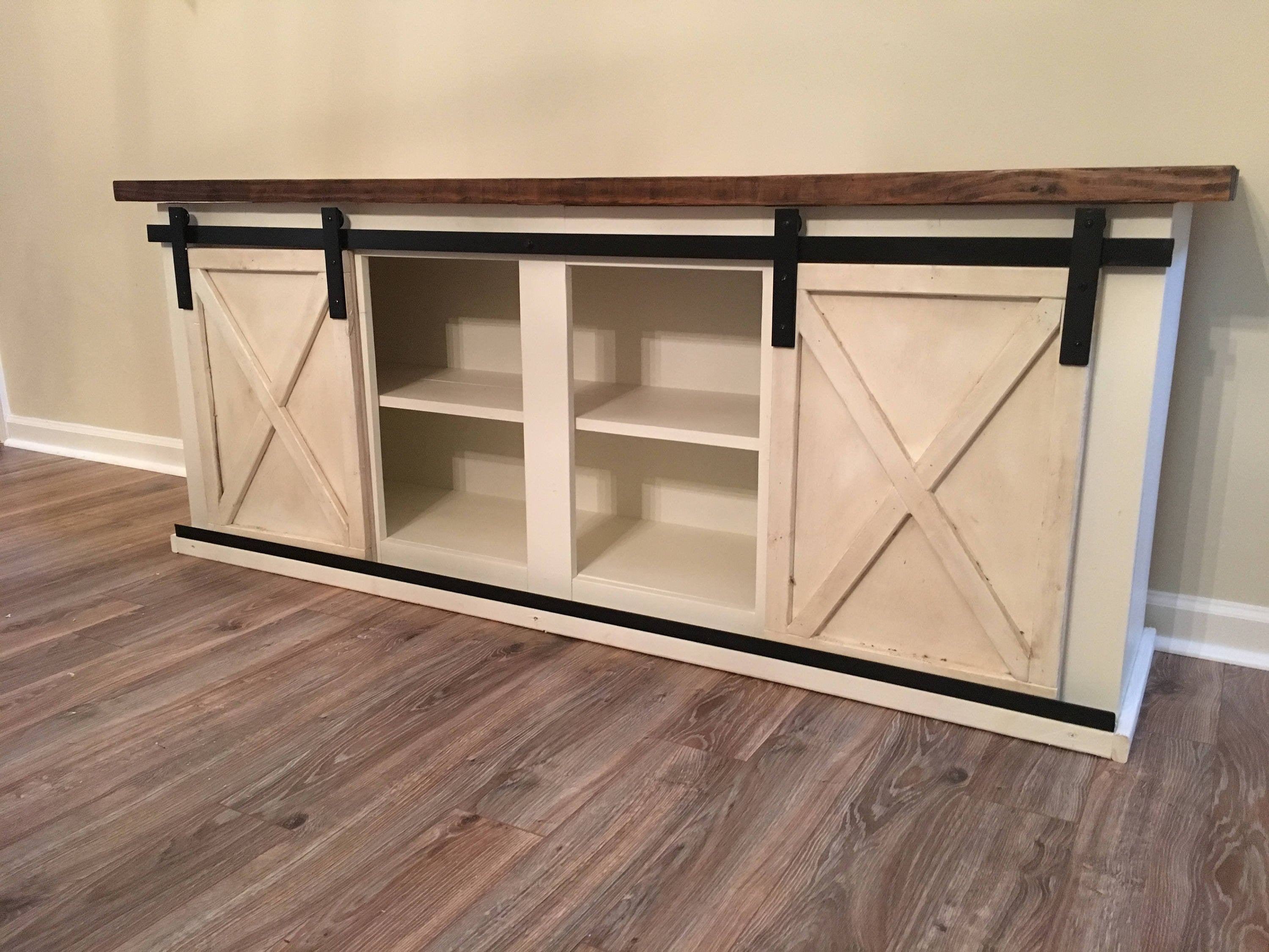 sliding barn door console, entertainment center, tv stand
