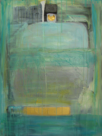 green blue turquoise seaside colored large abstract painting on canvas