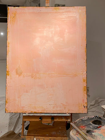 large pink contemporary abstract painting