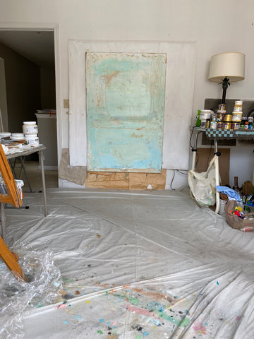 huge painting tons of texture mixed media pastel blue green
