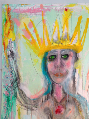 Abstract woman with crown and torch in pastel blue and yellow painting