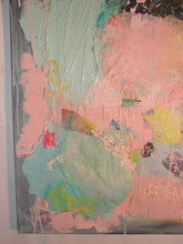 close up of pink textured painting by cheryl wasilow artist