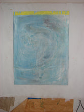 36 x 48 gallery wrapped contemporary art with texture in blue and yellow
