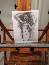 drawing of naked woman setting on easel by cheryl wasilow