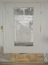 gray painting on canvas 24 x 48 with lots of thick paint by cheryl wasilow