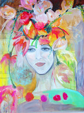 artwork with pink, red, yellow and blue with womans face by cheryl wasilow