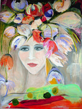 portrait of face with flowers by cheryl wasilow