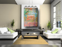 pink blue green orange original painting abstract by cheryl wasilow artistt