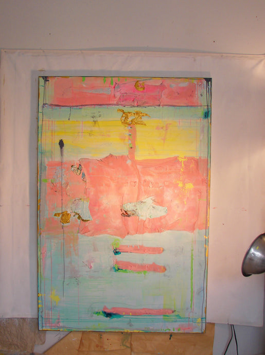 pink and yellow painting 60 x 40 large canvas