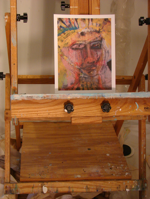 print on paper of expressionist abstract face of woman colorful