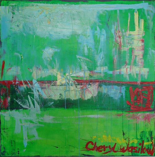 green and red painting on canvas by cheryl wasilow