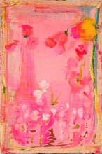 Pink, turquoise and yellow mixed media abstract painting with cloth around the edges cherylwasilowart
