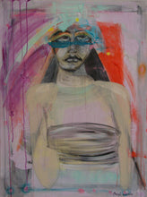 painting of woman with mask and hat red, purple, mint green by cheryl wasilow