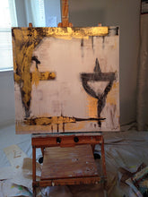 metallic gold, gray and white abstract painting on easel cherylwasilowart