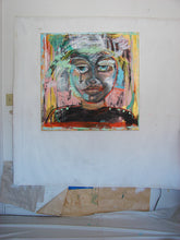 original painting by cheryl wasilow of abstract face in pinks and blues
