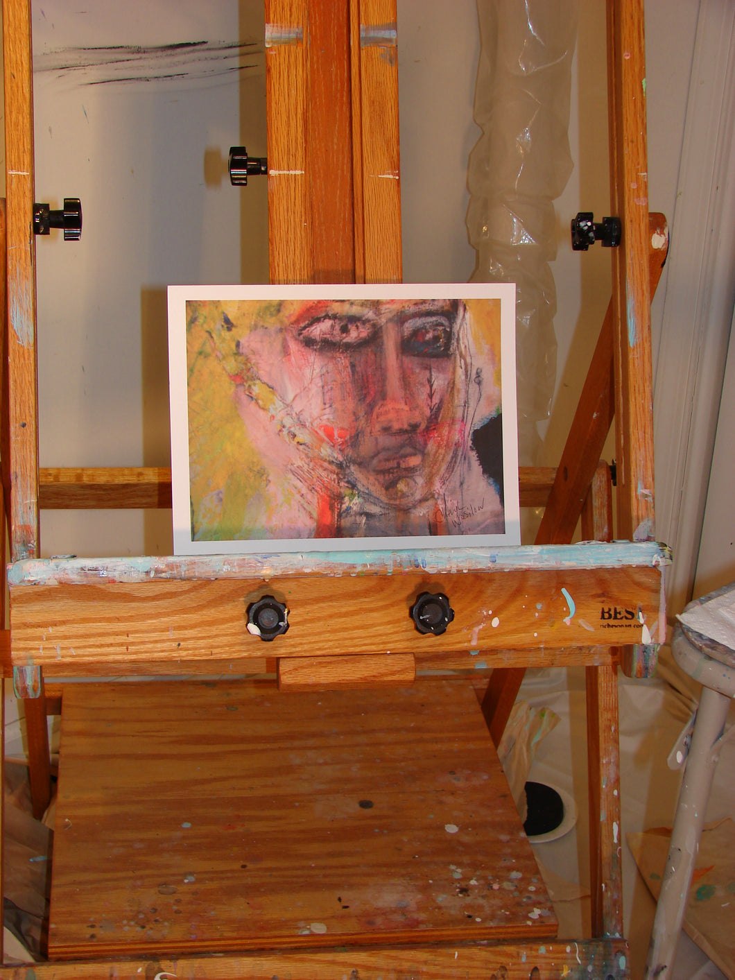 abstract face of woman in mixed media art print