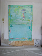 pastel aqua blue huge contemporary art on art studio wall by cheryl wasilow