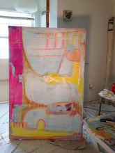 pale blue large painting with pink and yellow