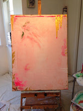 Pink, metallic gold and flourescent pink contemporary art on 30 x 40 canvas setting on easel cherylwasilowart