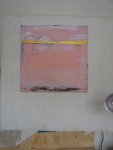 Pink, white and metallic gold large square 36 x 36 original art cherylwasilowart