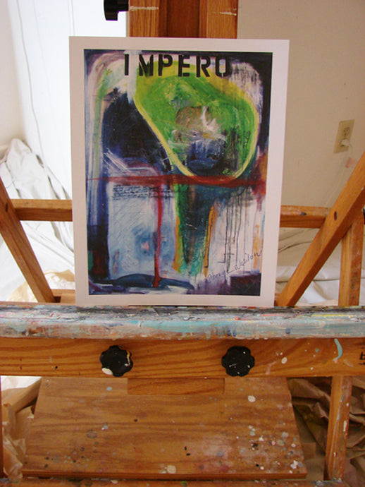 art on easel of dark purple and green abstract print contemporary