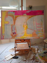 pale blue and bright pink with yellow artwork huge size by cheryl wasilow artist