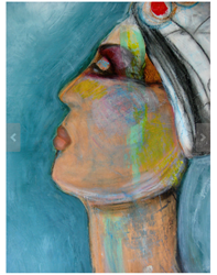 figurative art of woman from side of face with seafoam green highlights