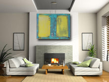blue and yellow large painting in abstract masculine style by cheryl wasilow