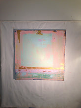 large square painting shabby chic green and pink by cheryl wasilow