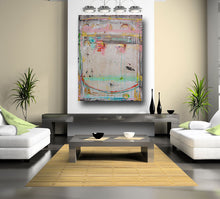 original painting in large size with pink and blue and cream by cheryl wasilow