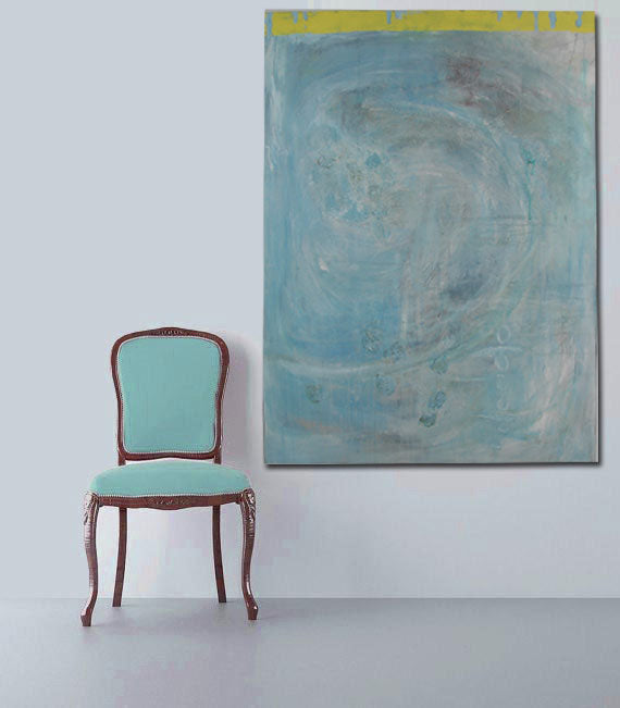 seaside blue and yellow original contemporary 36 x 48 acrylic painting on wall with blue chair
