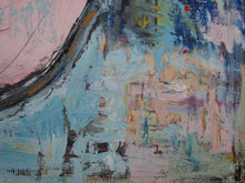 contemporary painting shabby chic art pink and blue by artist cheryl wasilow