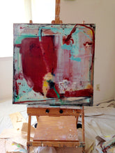 Radical abstract painting on easel with turquoise and burgundy red cherylwasilowart