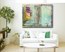 abstract painting with soft blue color aqua on wall over sofa by artist cheryl wasilow