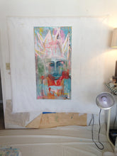 large abstract figurative painting of woman with crown by cheryl wasilow