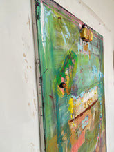 Green abstract painting with mixed media and thick paint.