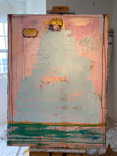 Pink, blue and metallic gold abstract mixed media painting by cheryl wasilow