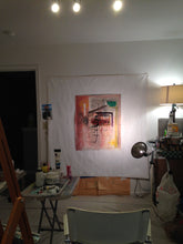 abstract painting on studio wall by cheryl wasilow