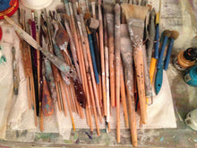 paint brushes and palette knives