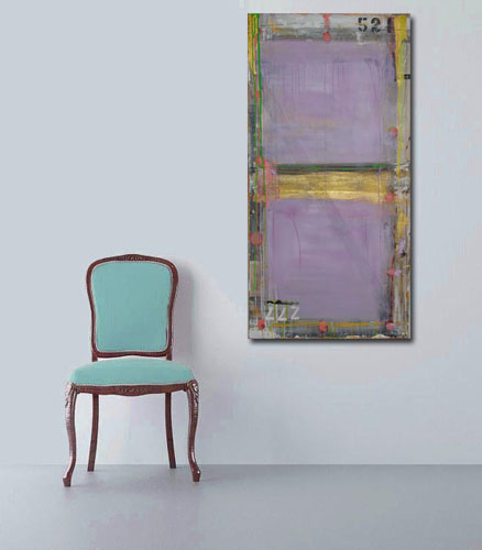 purple, green and metallic gold painting with texture on wall vertically 24 x 48 in room with blue chair