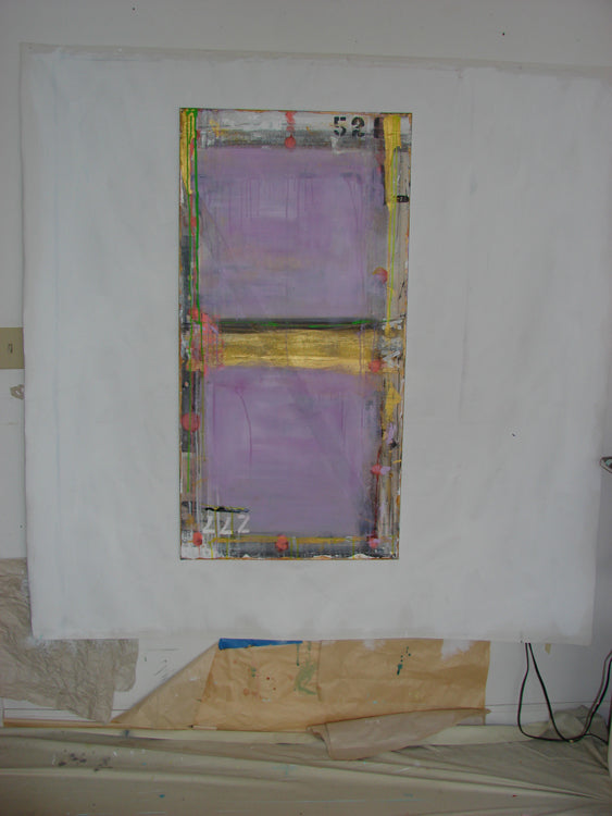 purple abstract 24 x 48 vertically on art studio wall by cheryl wasilow