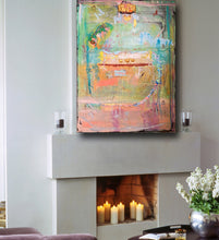 brightly colored abstract painting on wall by artist Cheryl Wasilow
