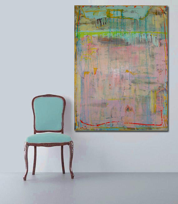 pale blue and pink painting by cheryl wasilow