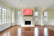 Pink, turquoise and yellow mixed media abstract painting above fireplace in modern mansion cherylwasilowart